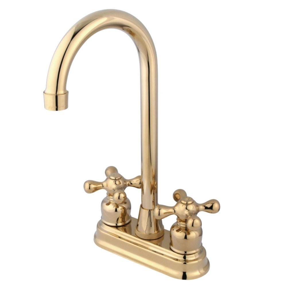 Kingston Brass KB492AX Bar Faucet, 4-3/4 in Spout Reach, Polished Brass