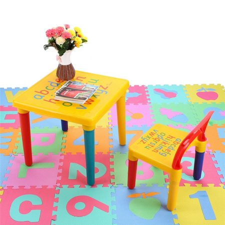 Hilitand Kids Table and Chairs Play Set Plastic DIY Toddler Child Toy Activity Furniture In-Outdoor Gift for Children Educational Learning