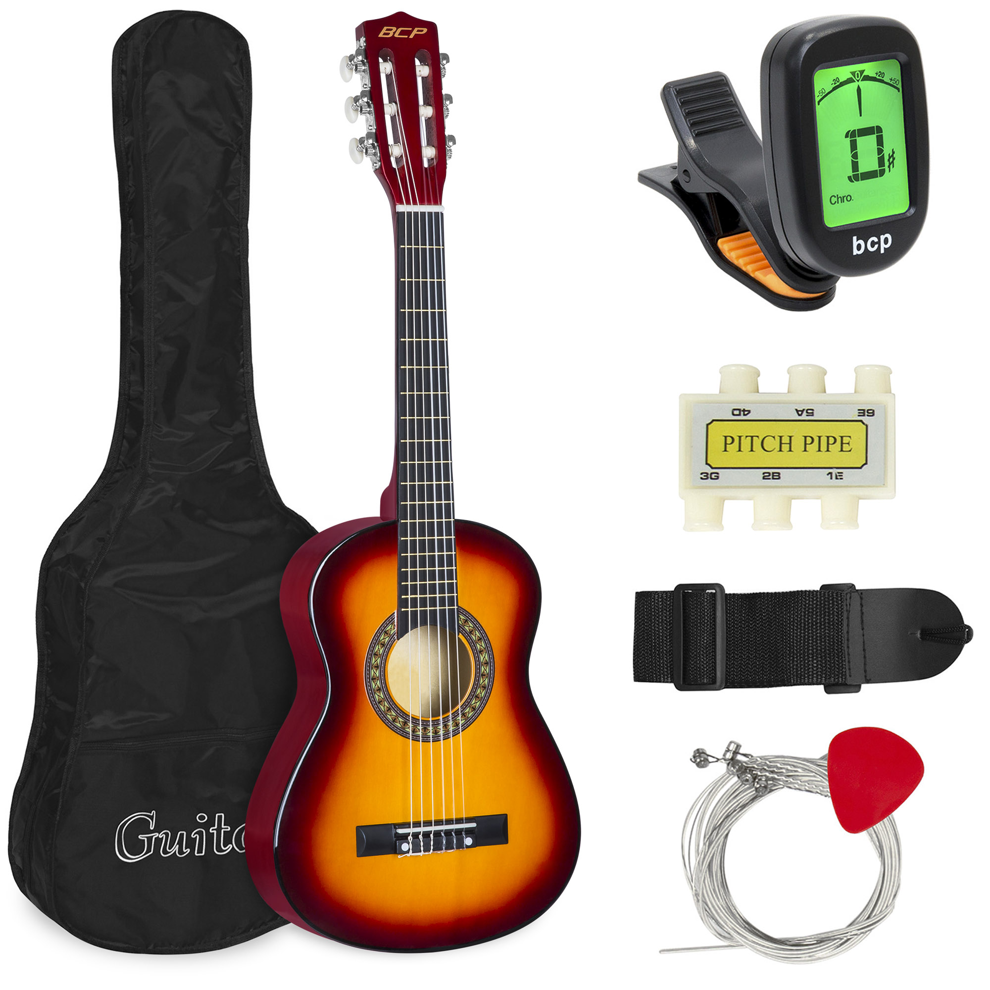 Best Choice Products 30in Kids Classical Acoustic Guitar Complete Beginners Set, Musical Instrument Kit w/ Carry Bag, Picks, E-Tuner, Strap - Sunburst