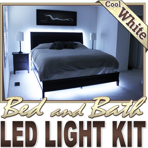 Biltek 3.3' ft Cool White Bath Tub Sink Mirror LED Strip Lighting Complete Package Kit Lamp Light DIY - Headboard Closet Make Up Counter Mirror Light Lamp Waterproof 3528 SMD Flexible DIY 110V-220V