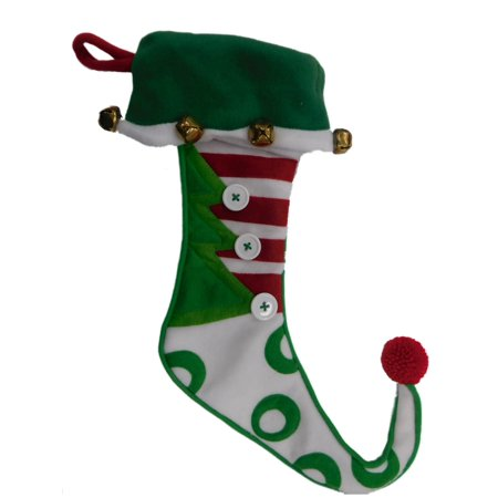 Embellished Stripe Felt Elf Style Jingle Bells Christmas Holiday Stocking