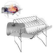 2-in-1 Portable Folding Stainless Steel Barbecue Grill Camp Firepit Outdoor Camping Backpakcing Wood Burning