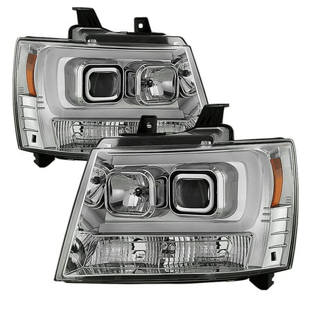 Sonar Light Bar DRL Projector Headlights (Chrome) - 07- 14 Chevy Tahoe (Version (Tahoe Two Light Chain)