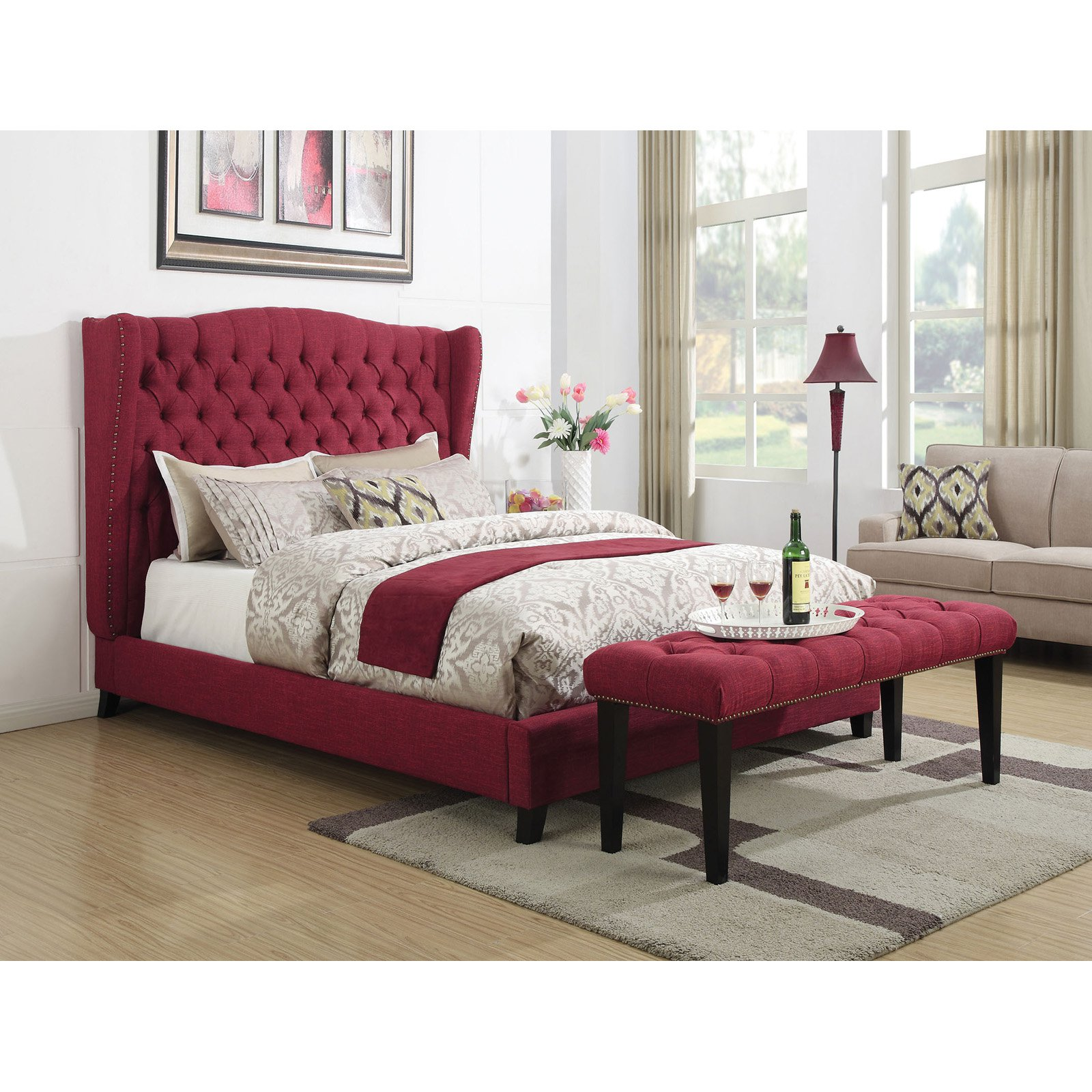 ACME Faye Queen Bed with Button Tufted Headboard in Red Linen, Multiple Sizes