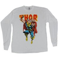 Thor (Marvel Comics) Long Sleeve Mens T-Shirt - Lunging Kirby Style Thor & Logo