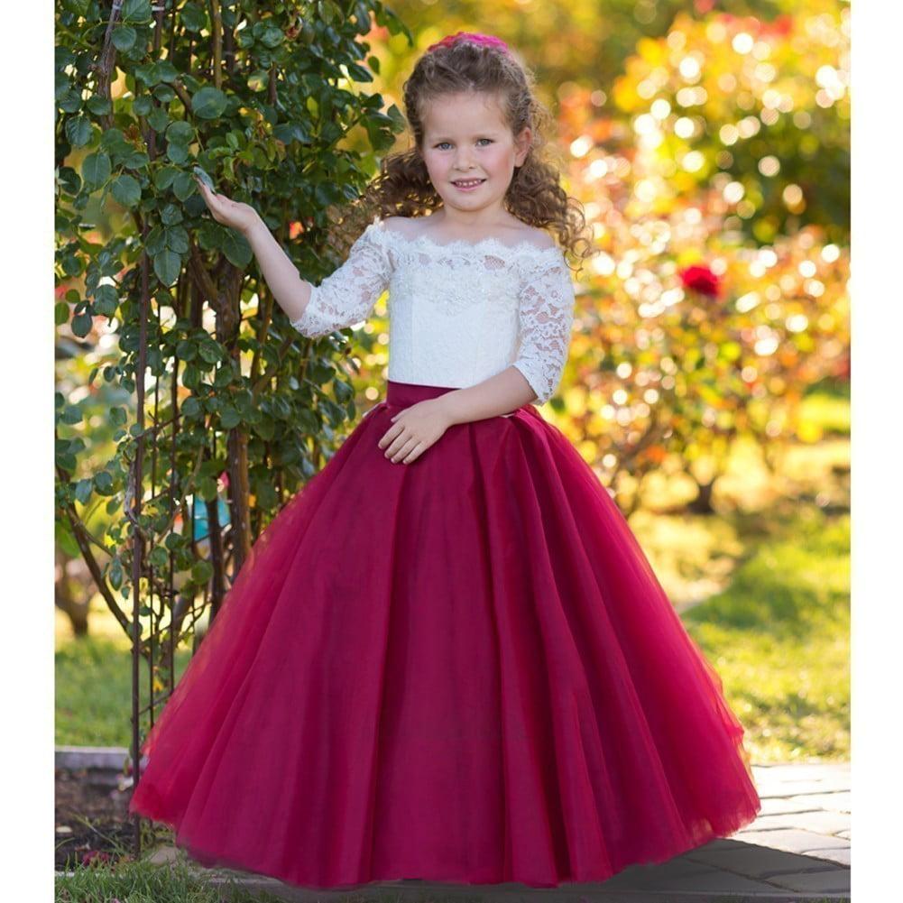 Flower Girl Dress Burgundy Dress Lace Girl Dress Flower Girl Lace Dresses Christmas Dress Burgundy Lace Dress Long Sleeve Dress