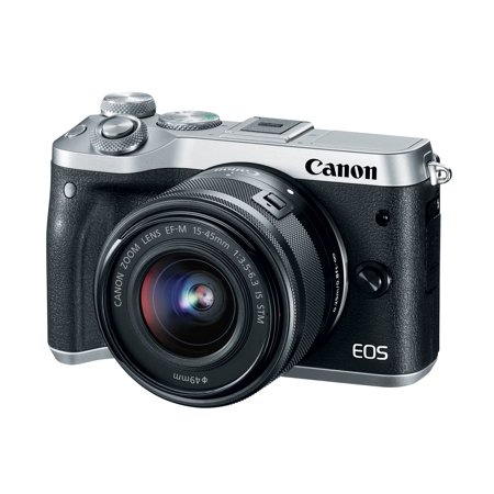 17 Mm Camera Head (Canon EOS M6 24.2 Megapixel Mirrorless Camera with Lens - 15 mm - 45 mm - Silver (1725c011))