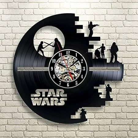 Vinyl Evolution Star Wars Death Star Darth Vader Princess Leia Master Yoda Movie Character Vinyl Record Design Wall Clock Star Wars Wall Clock