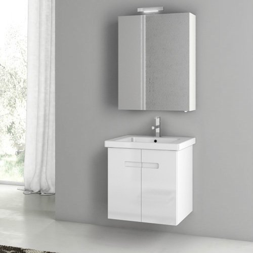 ACF by Nameeks ACF NY05-GW New York 24-in. Single Bathroom Vanity Set - Glossy White