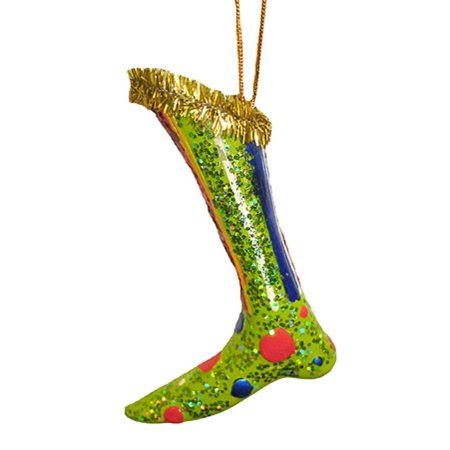 Retro Polka Dot Green Diva Boot Christmas Ornament for $<!---->