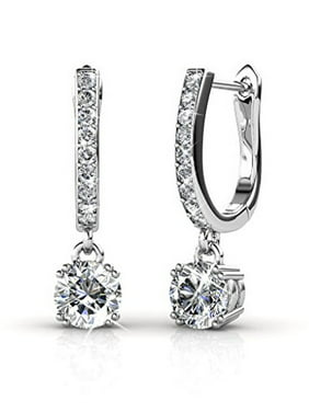 Cate & Chloe McKenzie 18k White Gold Dangling Earrings with Swarovski Crystals, Solitaire Crystal Dangle Earrings, Best Silver Drop Earrings for Women, Horseshoe Shape MSRP $136