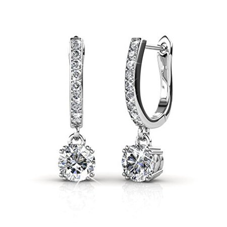 Cate & Chloe McKenzie 18k White Gold Dangling Earrings with Swarovski Crystals, Solitaire Crystal Dangle Earrings, Best Silver Drop Earrings for Women, Channel Set Drop Horseshoe Earrings MSRP$136