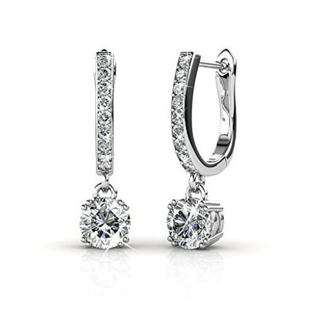Cate & Chloe McKenzie 18k White Gold Dangling Earrings with Swarovski Crystals, Solitaire Crystal Dangle Earrings, Best Silver Drop Earrings for Women, Channel Set Drop Horseshoe Earrings