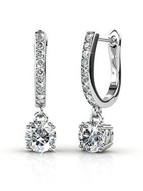 Cate & Chloe McKenzie 18k White Gold Dangling Earrings with Swarovski Crystals, Solitaire Crystal Dangle Earrings, Best Silver Drop Earrings for Women, Channel Set Drop Horseshoe Earrings MSRP$136