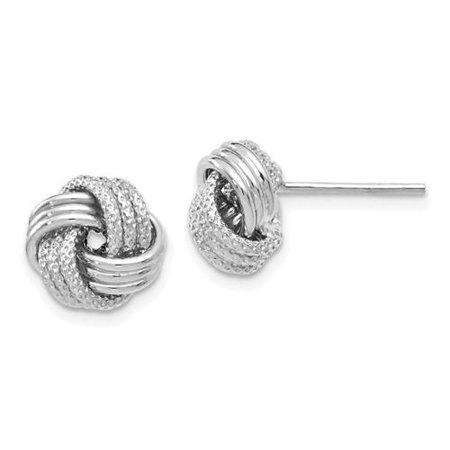 6e56119b4 Leslie's Jewelry - Leslie's 14k White Gold Polished Textured Love Knot  Earrings - Walmart.com