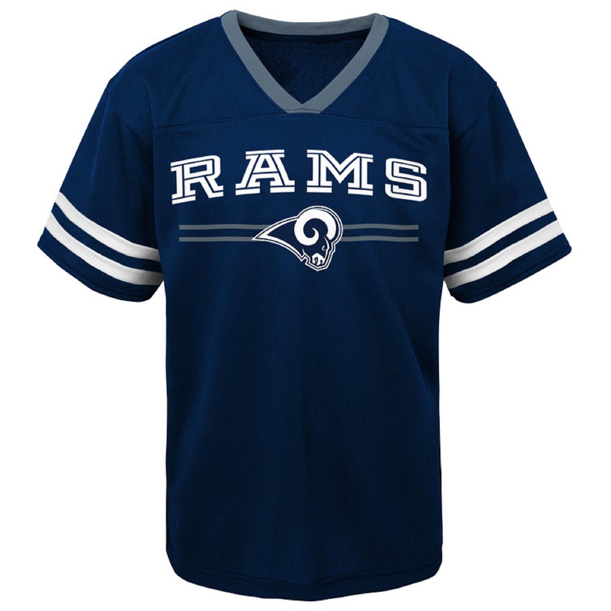 Toddler Navy Los Angeles Rams Mesh Jersey V-Neck T-Shirt