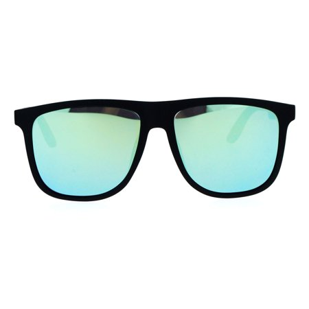 SA106 Mirrored Lens Mens Rubberized Matte Thin Plastic Horn Rim Sunglasses Yellow