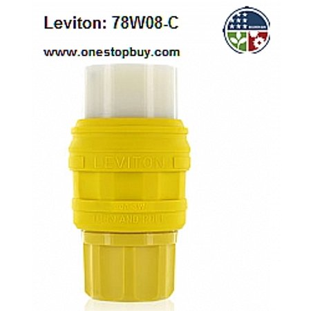 - Leviton 78W08-C Inlet Connector Locking Blade Wetguard 30A 125/250V 3P3W Non-Grounding - Yellow