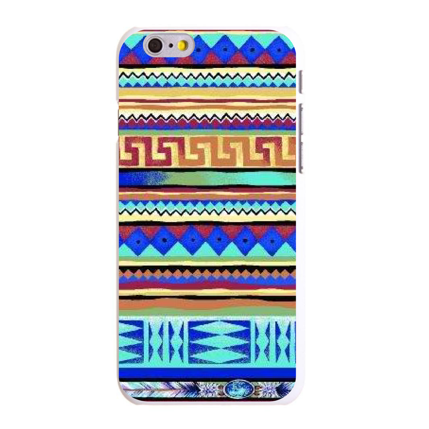 """CUSTOM White Hard Plastic Snap-On Case for Apple iPhone 6 / 6S (4.7"""" Screen) - Blue Red Yellow Tribal Print"""