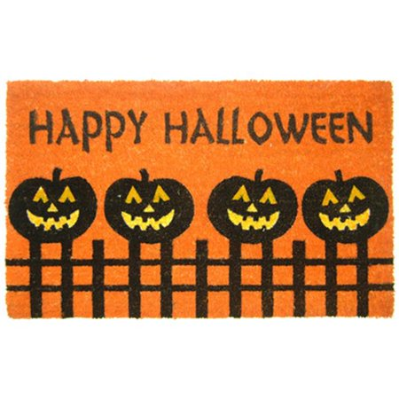 Geo Crafts G382 Halloween Fence Pumpkins 18 x 30 in. PVC Happy Halloween Pumpkins on a Fence