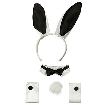 Adult 5 Piece Deluxe Bunny Set Costume Black & White Satin