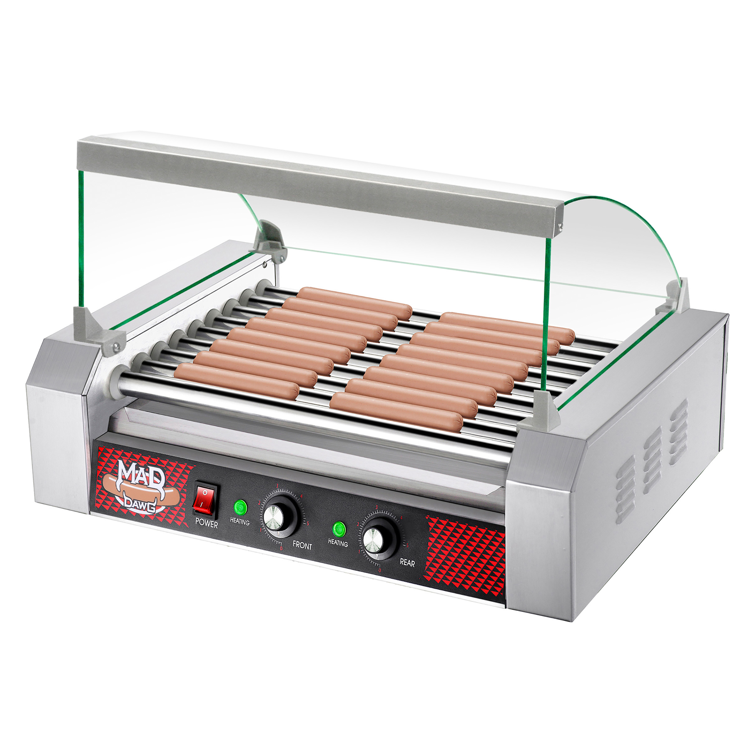 Commercial Quality 24 Hot Dog 9 Roller Grilling Machine W/ Cover 1800Watts by Great Northern Popcorn