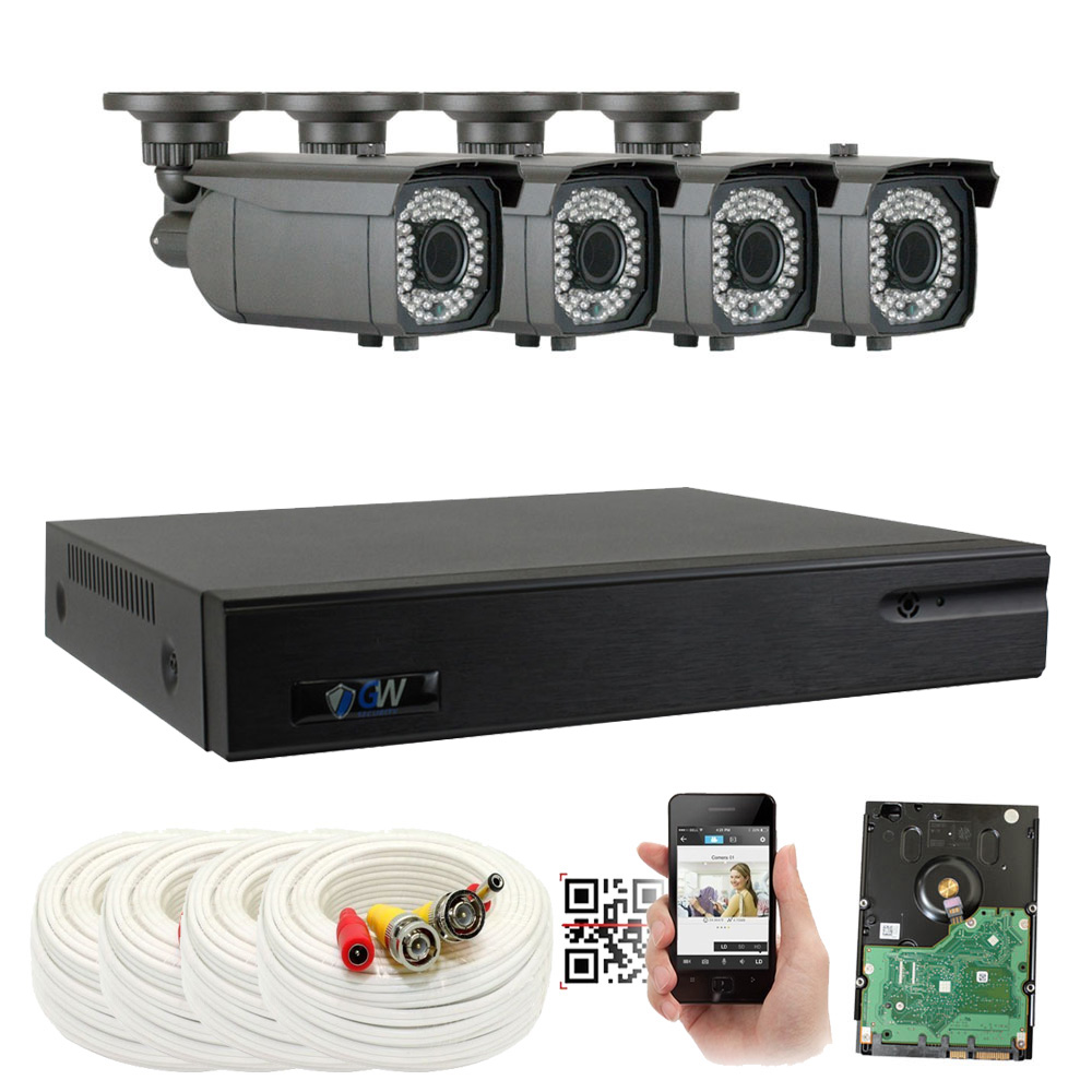 GW 8 Channel 4MP 5-In-1 DVR HD-TVI 1080P Complete Security System with (4) x True 2MP HD 1080P Outdoor / Indoor 2.8-12mm Varifocal Zoom Bullet Security Cameras and 1TB HDD, QR Code Scan Remote View
