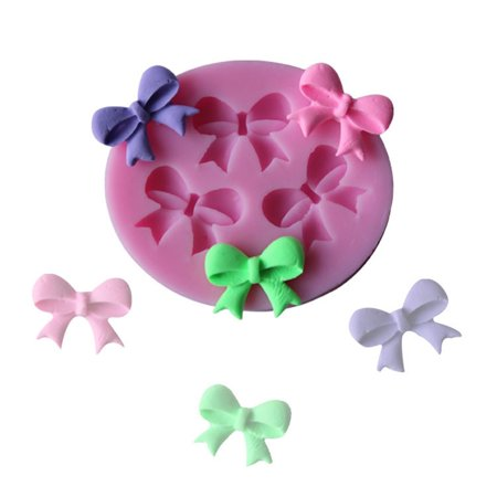 Girl12Queen Pink Silicone Bowknot Cake Mold Decorating Baking Chocolate Fondant Mould Tool - Fondant Molds