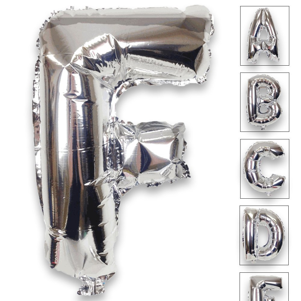 Just Artifacts Shiny Silver (30-inch) Decorative Floating Foil Mylar Balloons - Letter: F - Letter and Number Balloons for any Name or Number Combination!