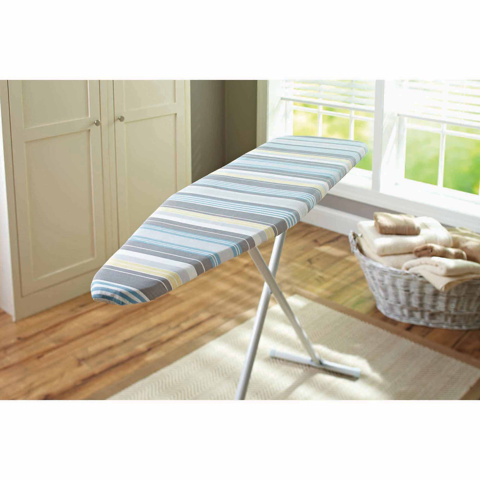 Better Homes and Gardens Ironing Board Reversible Replacement Pad and Cover, Blue, Gray and Cream (Stripe Side), Platinum Silver (Solid Side)
