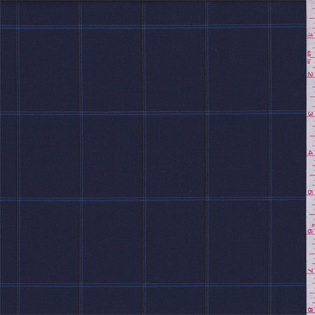 Navy Blue Windowpane Check Suiting Fabric By The Yard