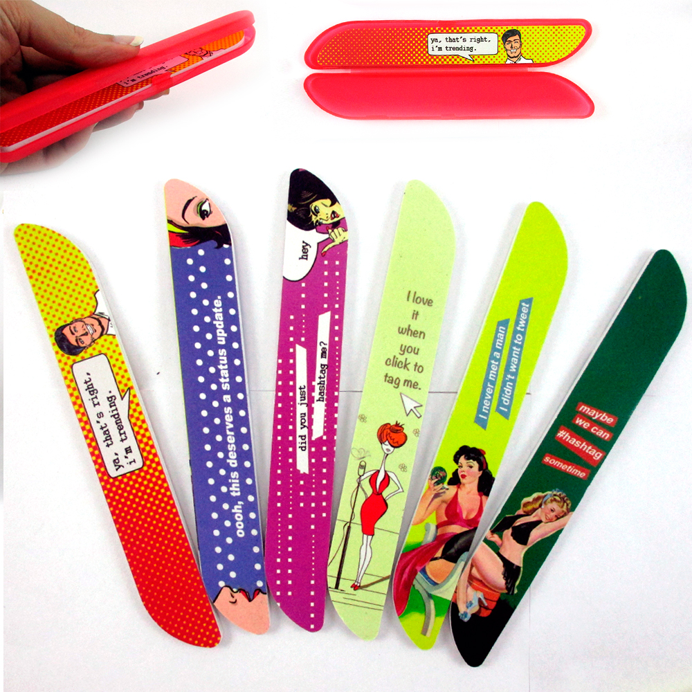 2 Nail Files Compact Case Refill Manicure Pedicure Art Sanding Buffer Travel New