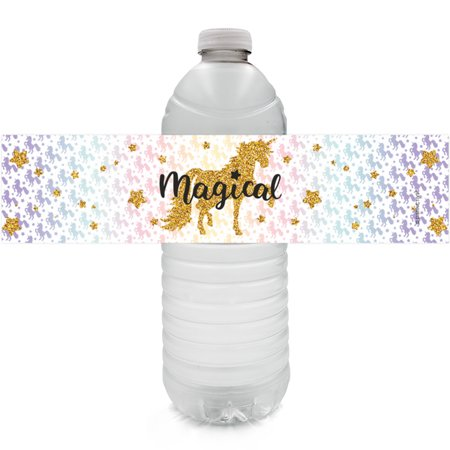Unicorn Party Water Bottle Labels, 24ct - Magical Unicorn Birthday Party Supplies Rainbow Unicorn Candy Labels Unicorn Baby Shower Decorations - 24 Count Sticker Labels