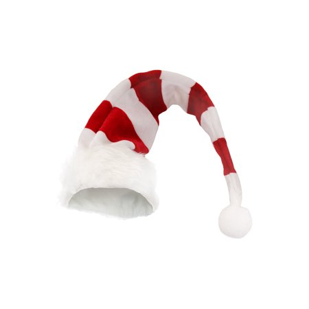White Red Striped Light Up Candy Cane Striped Cap Elf Christmas Adult