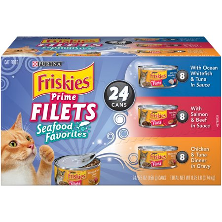 Purina Friskies Prime Filets Seafood Favorites Wet Cat Food Variety Pack   24  5 5 Oz  Cans