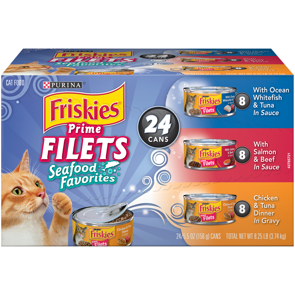 Purina Friskies Prime Filets Seafood Favorites Wet Cat Food Variety Pack- (24) 5.5-oz. Cans
