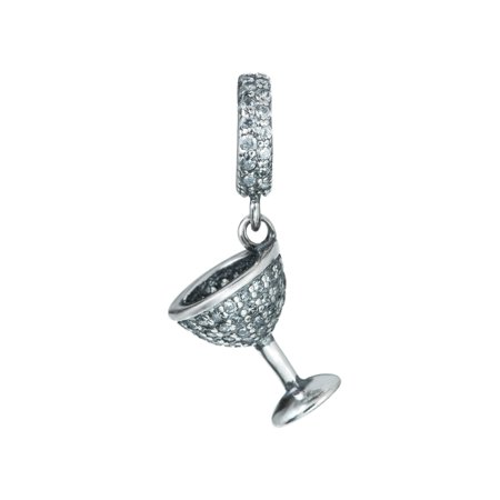 Sterling Silver Clear Cubic Zirconia Wine Glass Cup Dangle Bead Charm Fits Pandora