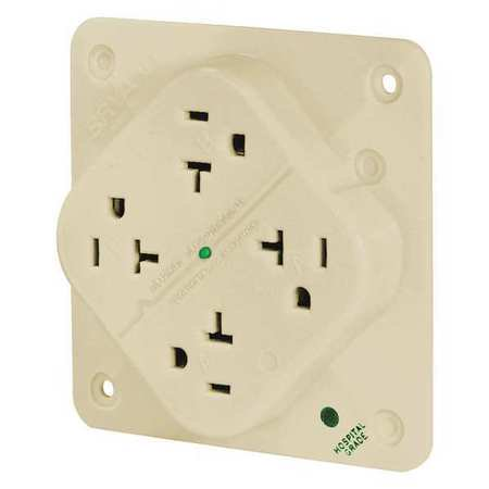 bryant receptacle,ivory,quad outlet,20a,3 wires 21254hsia