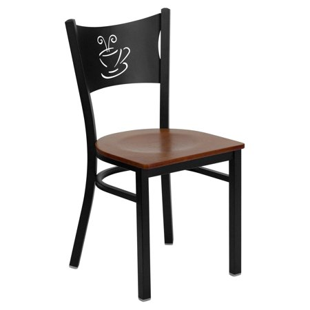 (Flash Furniture HERCULES Series Black Coffee Back Metal Restaurant Chair, Wood Seat, Multiple Colors)
