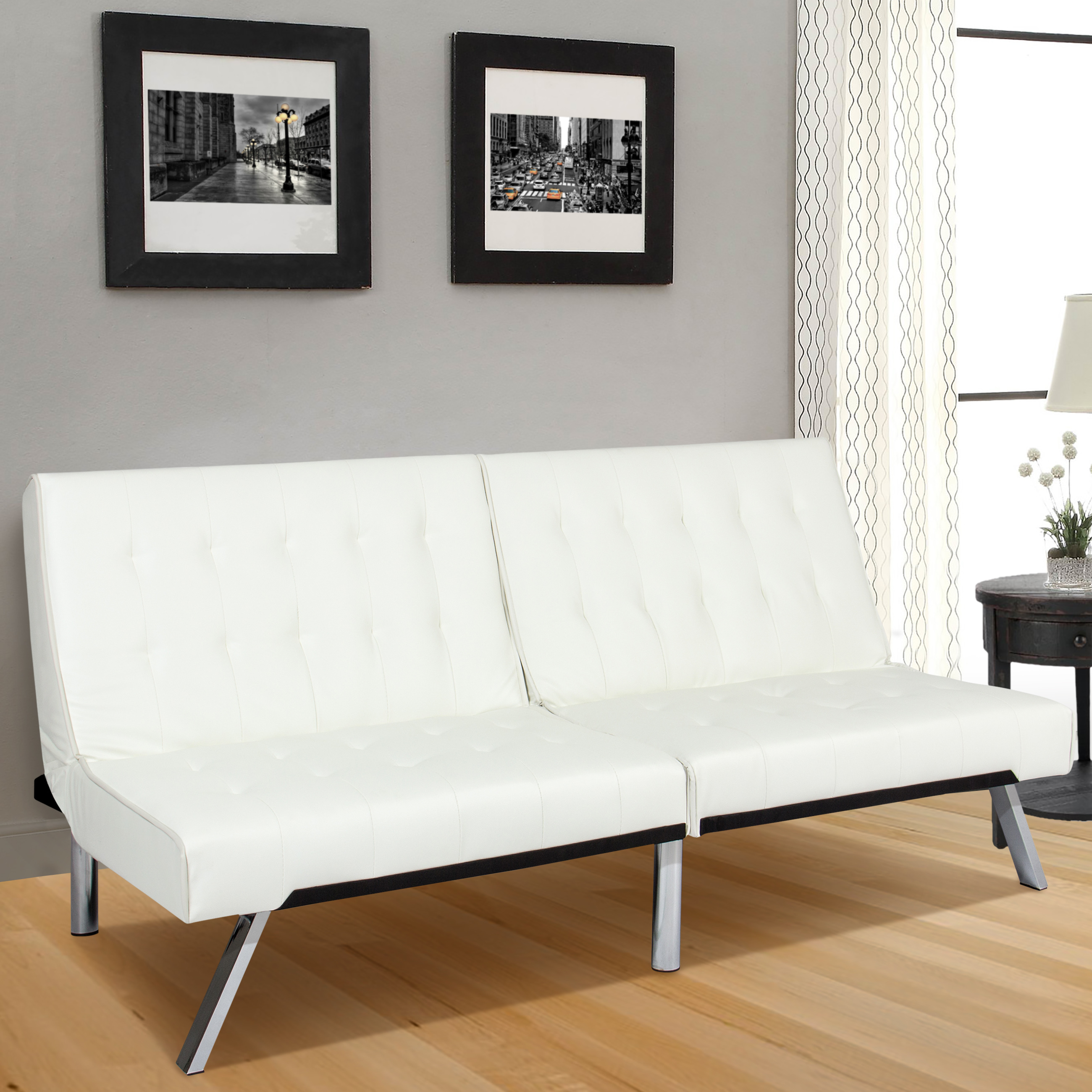 Best Choice Products Modern Leather Reclining Futon Sofa Bed Couch Lounger Sleeper Furniture w  Chrome Legs White by