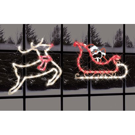 impact innovations 2 piece lighted santa sleigh and reindeer silhouette christmas window decoration