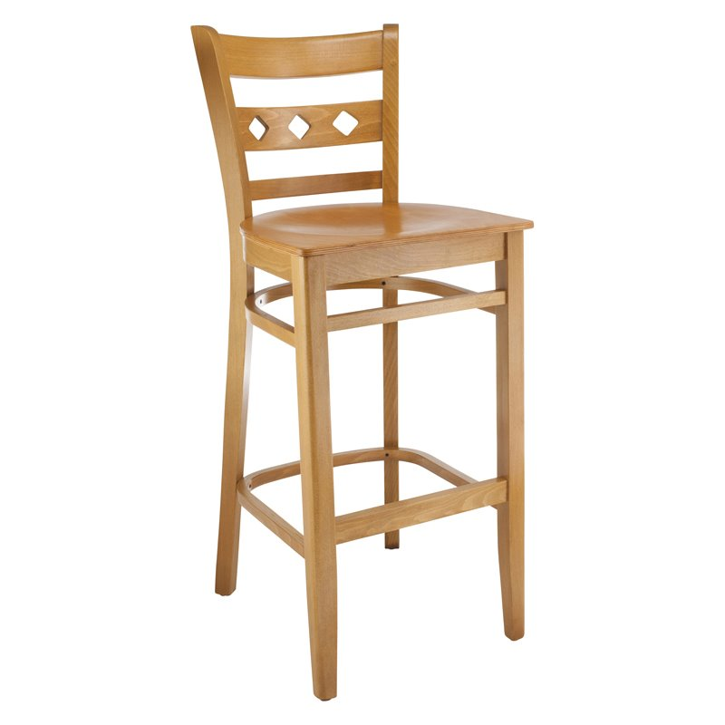 Diamond Bar Stool in Cherry with Wood Seat