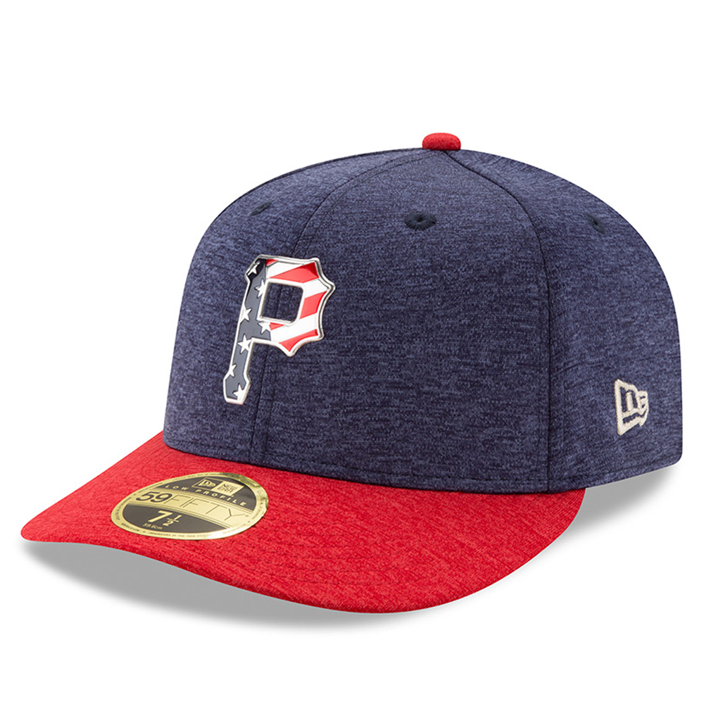 Pittsburgh Pirates New Era 2017 Stars & Stripes Low Profile 59FIFTY Fitted Hat - Heathered Navy/Heathered Red