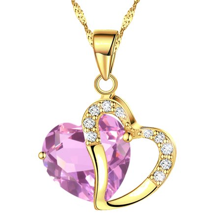 Katgi Fashion Austrian Pink Crystal Heart Shape Pendant Necklace, 18 Chain Crystal Heart Pin