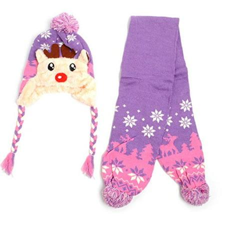 Trapper Hat Pattern (Kid's Scandinavian Reindeer Trapper Hat and Scarf Winter Set )