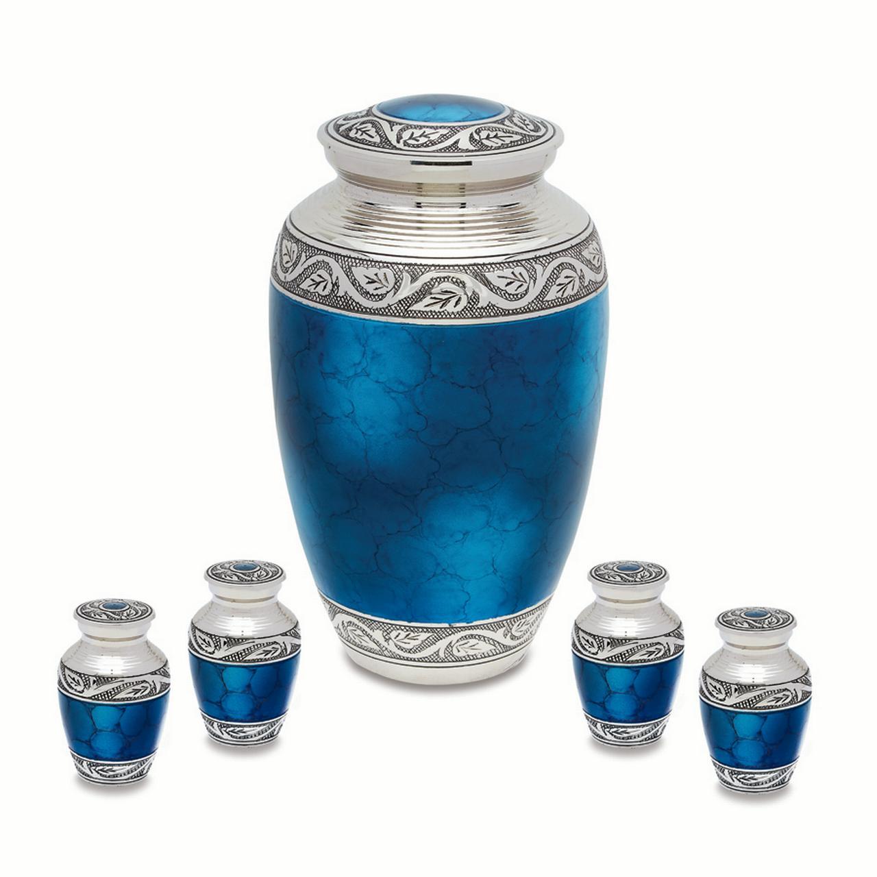 Urnsdirect2u Mediterranean Mystic Blue Adult Urn with four tokens