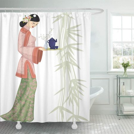 Beautiful Old China (PKNMT China Beautiful Chinese Woman Holding Tray with Tea People Antique Old Leaf Cup Waterproof Bathroom Shower Curtains Set 66x72)
