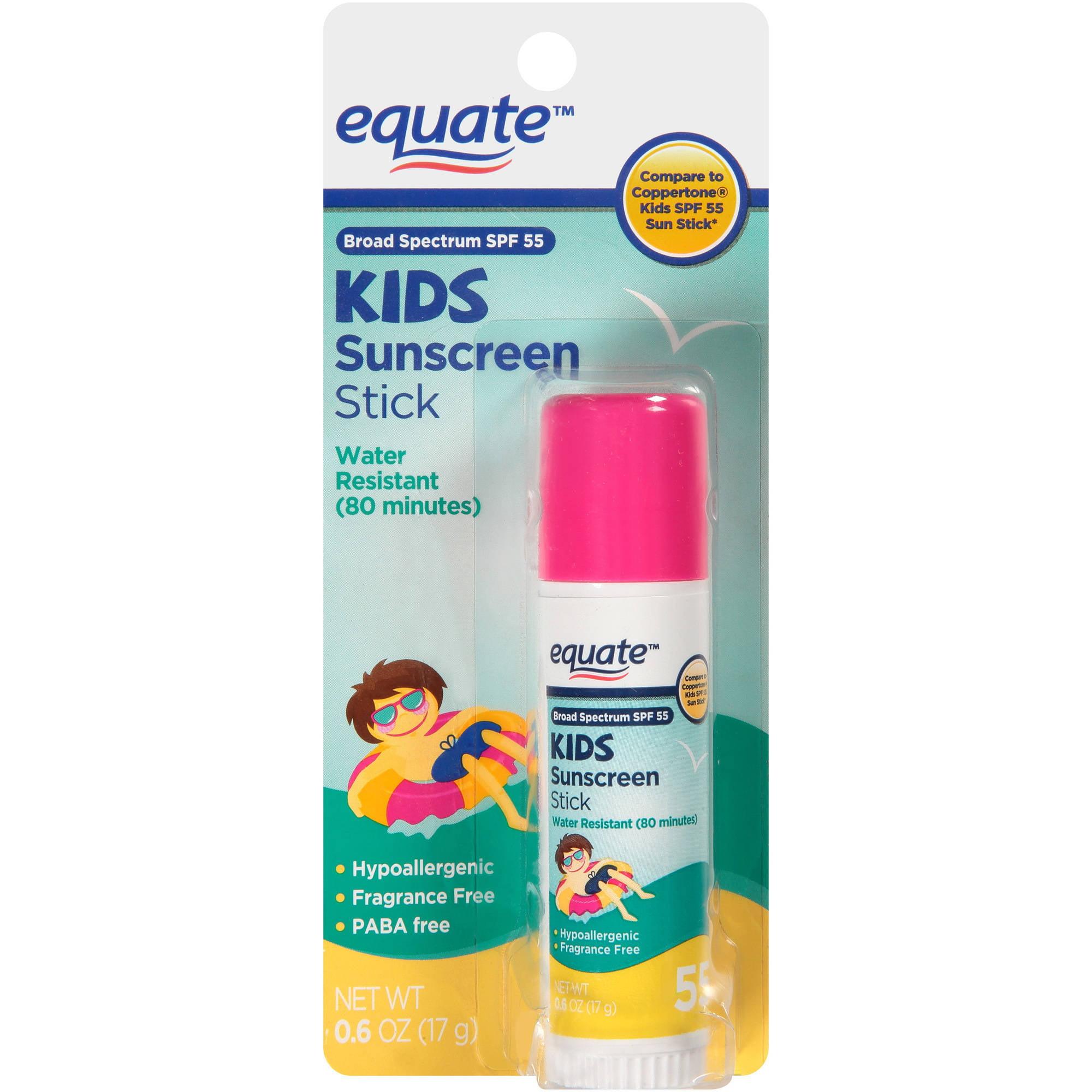 Equate Kids Sunscreen Stick, Broad Spectrum SPF 55, 0.6 oz
