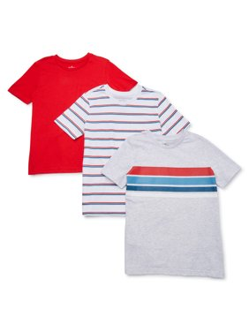 Hollywood Boys Stripe & Solid Short Sleeve T-Shirt 3 Pack Sizes 4-18