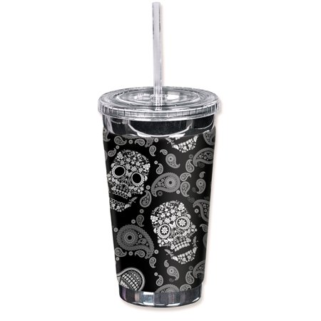 Mugzie Sweat Proof 16-Ounce To Go Tumbler with Insulated Wetsuit Cover - White Sugar Skulls for $<!---->